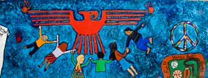 Mural of Thunderbird in courtyard of the school.