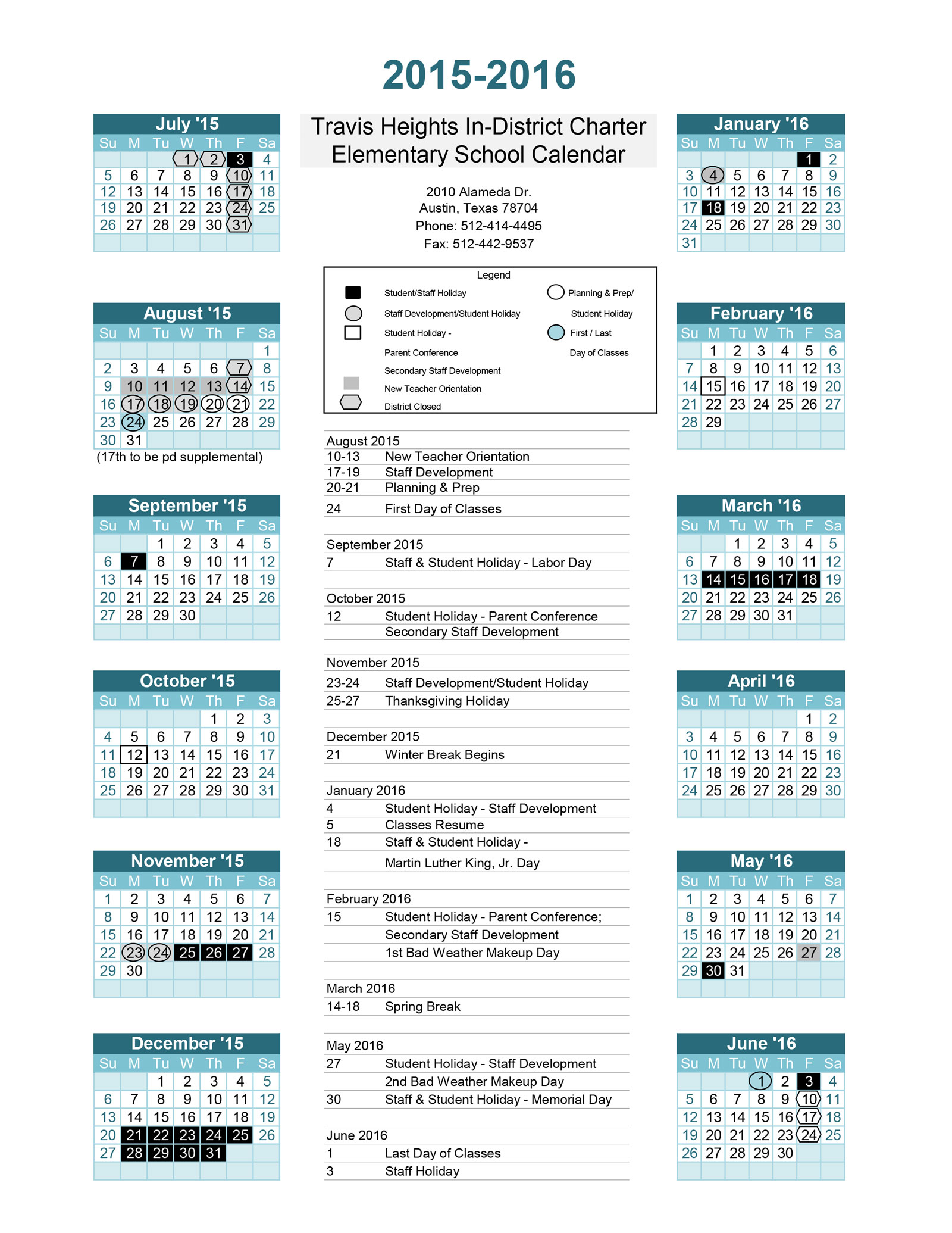 2015-16-School-calendar-Travis-Heights-ES